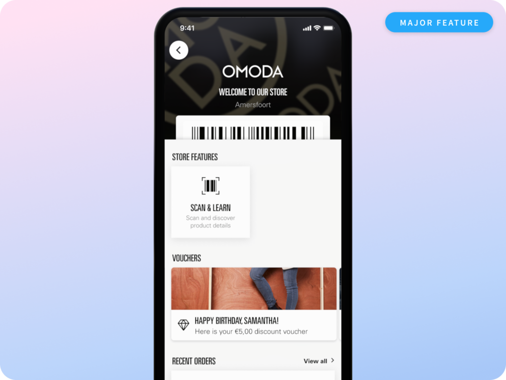 The Store hub is the next step for an omnichannel experience. A preview of the Store hub user interface on a phone mock-up.